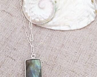 rectangular labordite/sterling necklace 18 inch