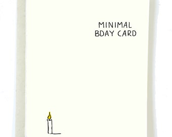 Funny Minimal Birthday Card, MINIMALIST Bday Card, Boyfriend Birthday Card, Minimal Art, Friend Birthday Card, Blank Birthday Card, Modern