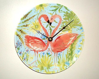 Coral Flamingo Wall Clock, 8 Inch Small Tropical Wall Clock, Fun Flamingo Heart Clock, Unique Wall Clock, Glass Flamingo Wall Decor - 2485
