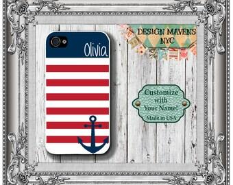 Personalized iPhone Case, Preppy Anchor Stripe Monogram iPhone Case, iPhone 4, 4s, iPhone 5, 5s, iPhone 5c, iPhone 6, 6s, 6 Plus, Phone Case