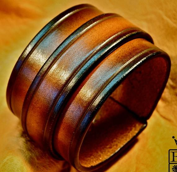Leather cuff bracelet Sunburst vintage finish wristband Handmade for YOU in USA by Freddie Matara
