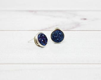 Druzy Earrings, Druzy Studs, Druzy Stud Earrings, Minimalist Earrings, Natural Stone jewelry, Small Earrings, Sapphire, Sterling silver,gold