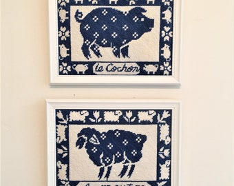 Pair of Blue & White Needlepoint French Farmhouse Pro. Framed, Sheep, Pig, Country Decor,