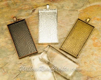 """30 pcs 1"""" x 2""""  Rectangle Pendant Trays with 30 Rectangle Glass in Bronze, Antique Copper and Silver Plated, Blank Bezel Cabochon Setting"""