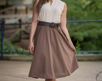 Vintage Ivory And Taupe Dress (Size Medium)