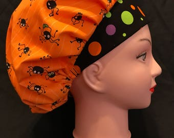 HALLOWEEN SPIDER Surgical Womens Scrub Hat Bouffant fits ponytail, Chemo Cap, Surgical Hat, Nurse Cap