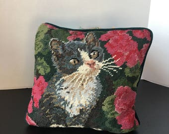 Small Vintage Needle Point Pillow of Gray and White Kitten. Cat Lover Decor