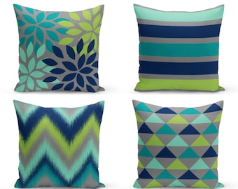 Outdoor Pillows, Navy Teal Grey Pear Green Lucite Green,  Outdoor Home Decor, Outdoor Throw Pillows