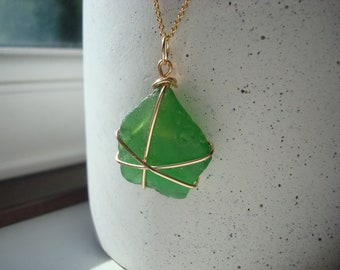 Green sea glass seaglass pendant gold filled necklace from river Thames mudlark mudlarking London