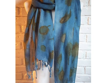 Indigo Dyed Scarf, Eco Printed with Leaves, Wool Scarf