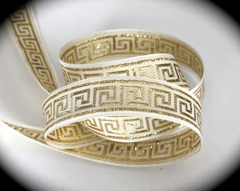 "Vintage Jacquard Ribbon -  1""  White and Gold Greek Key Ribbon - Gorgeous"