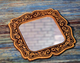 Vintage mirror, birch bark mirror, rustic mirror, russian style mirror, pocket mirror, small mirror, mirror with a lily, gift for her