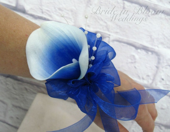 Picasso Royal Blue Calla Lily Wrist Corsage Pearl Wristlet