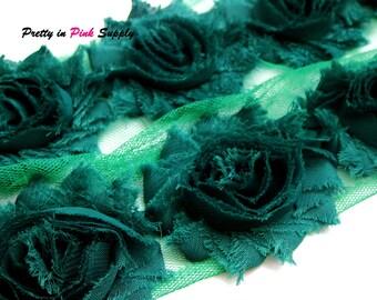 FOREST GREEN Shabby Rose Trim - Shabby Chiffon Rosettes - 1/2 Yard or 1 Yard - Shabby Flower Trim - Wholesale Shabby Flower - Chiffon rose
