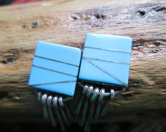 Turquoise Inlay and Sterling Post Dangle Earrings