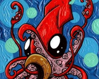 Juvenile Squid Striking A Defensive Pose print
