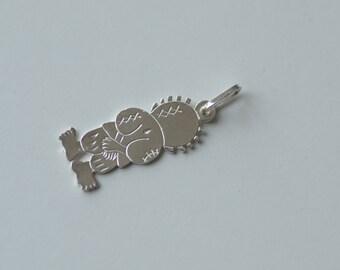 Handmade Handala silver pendant with silver chain