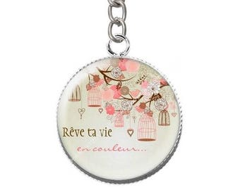 Keychain resin cabochon dream your life in color