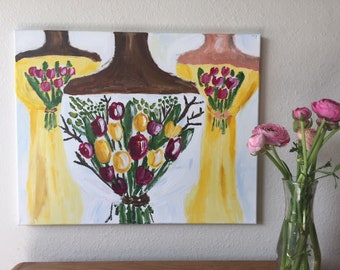 Original Acrylic Art The Bride and Her Bridesmaids