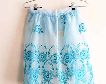 Vintage Half Apron, Sheer Apron, Blue Apron, Flocked Apron, Bridal Shower Apron, Something Blue Apron