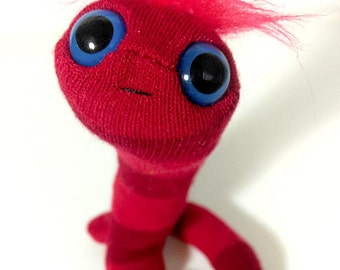 Minature animal worm puppet plush pocket toy red stripes