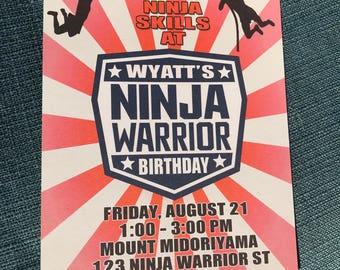 American Ninja Warrior Birthday Invitation, PRINTED, Ninja Warrior Invitation, Ninja Warrior Invite