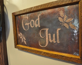 GOD JUL Scandinavian Christmas Copper Engraving, Swedish Christmas Gift, Norwegian Gift, Nordic Christmas Gift