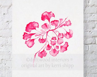 Sea Fan IV in Raspberry Watercolor Print - Sea Life Wall Art in Raspberry Red - Sea Coral Print
