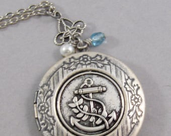 Anchors the Soul,Anchor Locket,Anchor Necklace,Nautical Necklace,Travel Necklace,Travel Locket,Anchor,Birthstone jewlery,Birthstone locket