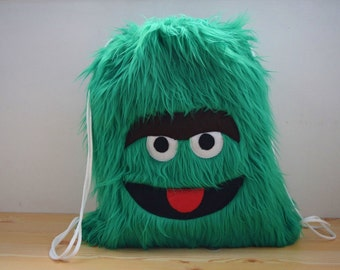 Monster backpack,kids backpack,plush backpack,kawaii backpack,shool bag,trash monster,children backpak,draw string bag,string backpack