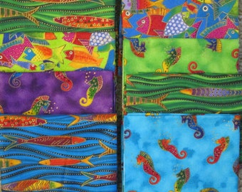 8 Ocean Fish Fat Quarters Quilting Fabric