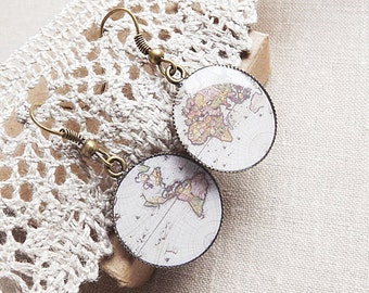 Old Map Earrings Whole Wide World Earrings Map Dangle Earrings Antique World Map Vintage Earrings Retro Space Globetrotter Gift For Her