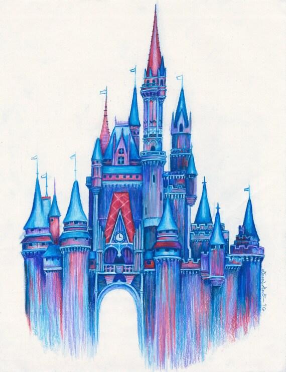 magie dans lairdisney chteau art printcolor disney chteau chteau magiquedessin dessinbleu dessin chteau disney - Dessin Chateau Disney