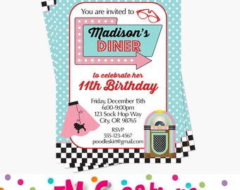 1950s Birthday Party Invitation - 50s Birthday Party Invite - Sock Hop Party Invitation - Retro Diner Soda Shop Poodle Skirt Birthday Party