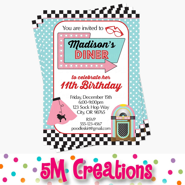 1950s Birthday Party Invitation 50s Birthday Party Invite