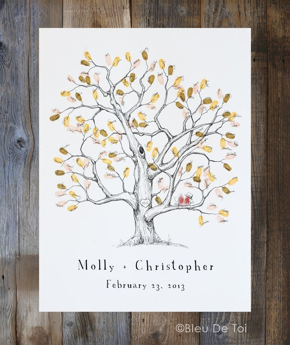 Fingerprint tree Wedding Guest Book Alternative Medium Elm
