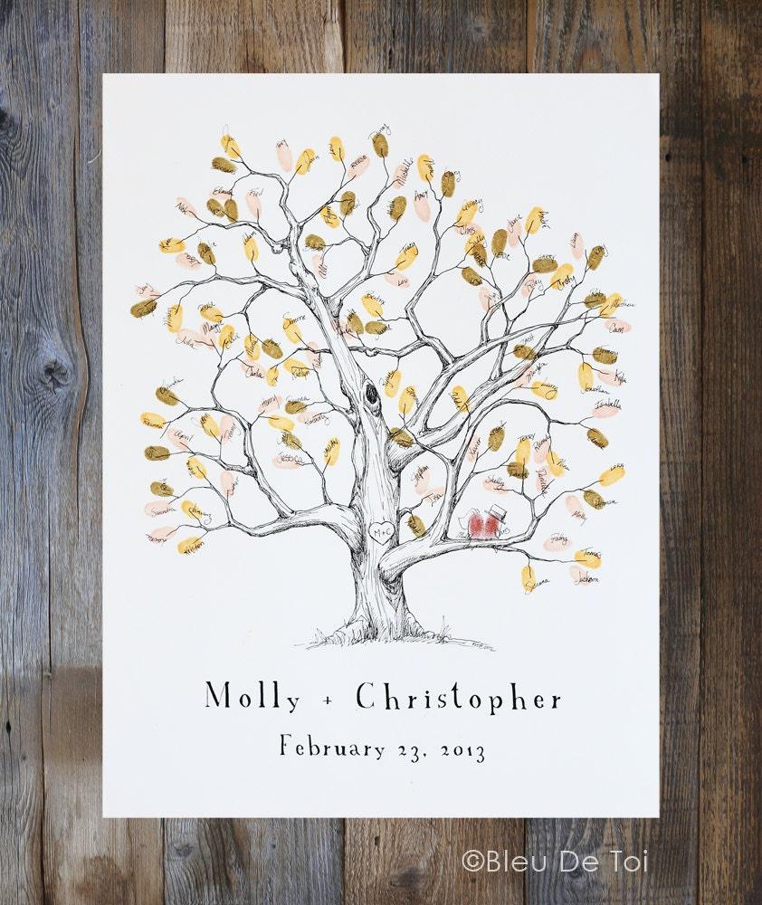 Guest Book Alternative Thumbprint Wedding Tree Fingerprint: Fingerprint Tree Wedding Guest Book Alternative Medium Elm