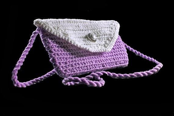 Crochet Boho Handbag, Leather Interior, Handmade  Purse, Lilac and White