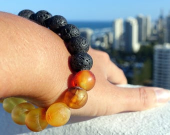 Beaded Gemstone Bracelet, Baltic Amber Bracelet With Lava Round Beaded, Unpolished Raw Amber, 12 mm Ball