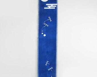 Noren, Japanese wall hanging, wall hanging, home decor, wall tapestry, Japanese noren, minimalist decor, indigo shibori hand-dye, navy blue