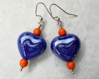 Blue and Orange Heart Earrings (4131)