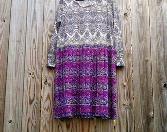 MIX MATCH DRESS Upcycled Dress Recycled Dress Boho Dress Multi-Pattern Dress Psychedelic Dress Purple Grey sz Large Extra Large