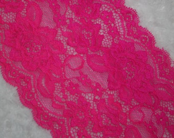 """2 yards Bright Neon Pink textured galloon floral scalloped stretch lace 5"""" wide"""