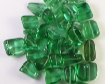 Bright Kelly Green Glass Beads, Medium Tumbled Nugget, Loose Beads, Wholesale