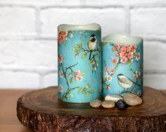 Whimsical Cherry Blossom Flameless Candle Gift Set, Set of 2 LED Candles, Bird Print Home Decor, Mothers Birthday Gift, Gift for Teacher