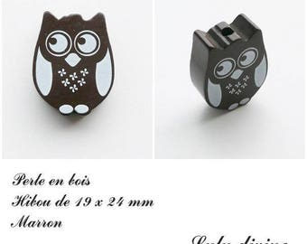 19 x 24 mm wooden bead, Pearl flat OWL / owl: Brown