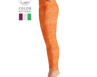 Orange Mandala Leggings | Yoga Leggings | Hippie Leggings | Boho Leggings | Festival Leggings | Wild Leggings | Yogawear | Loopy Jayne