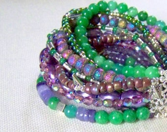 MULTI STRAND BRACELET ... amethyst and green
