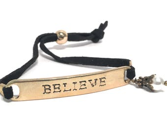 Believe Charm Suede Wrap Bracelet with Crystals from Swarovski