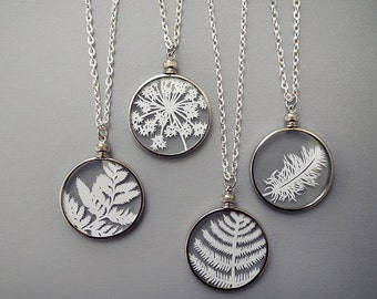 Papercut Necklaces - Original Handcut Paper in Glass Pendants with Silver Chain